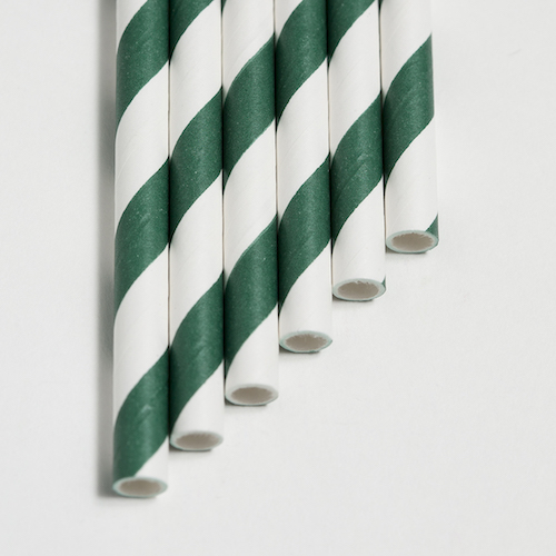 Strohhalme dunkelgrün - Streifen