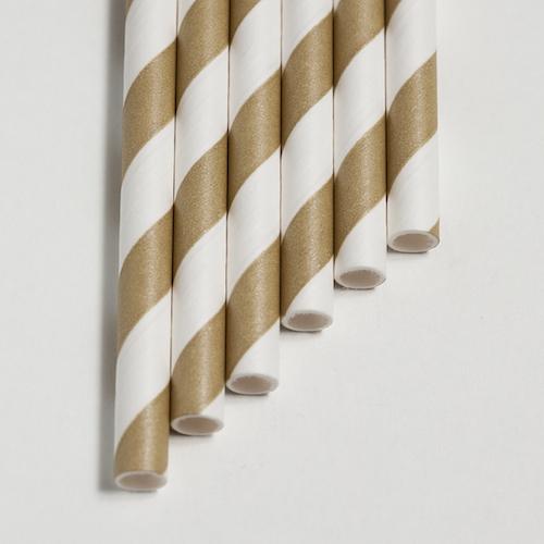 Strohhalme gold - Streifen