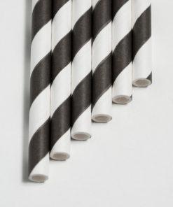Strohhalme schwarz - Streifen