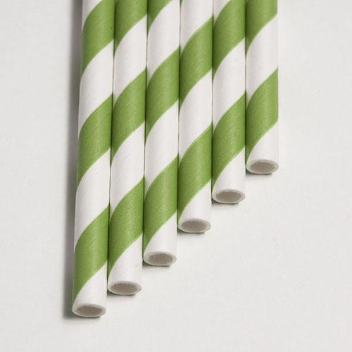 Strohhalme grün - Streifen