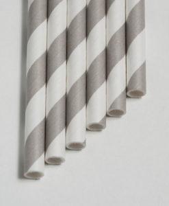 Strohhalme grau - Streifen