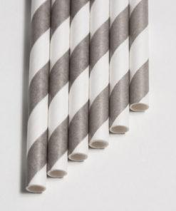 Strohhalme silber - Streifen