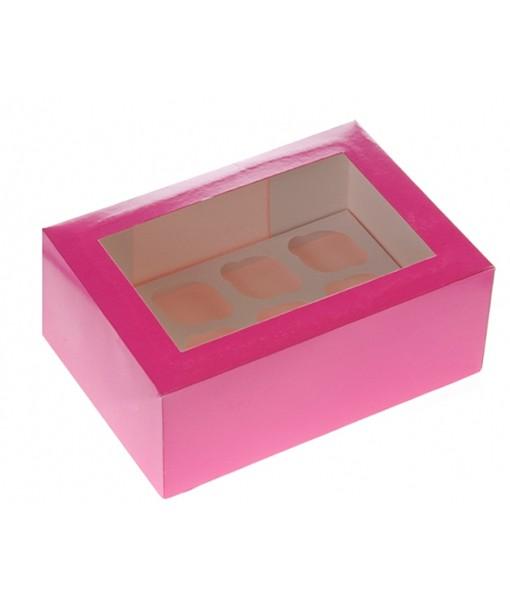 6er Cupcake Box - pink
