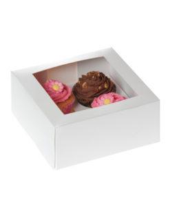 Cupcake Box - 4er Set, weiss