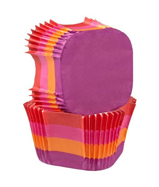 Papierbackförmchen - warme Streifen