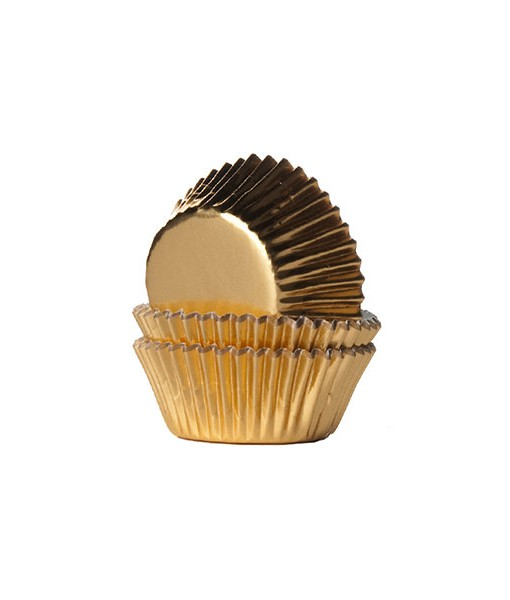 Papierbackförmchen - gold, mini