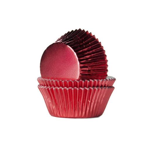 Folienbackförmchen - metallic rot
