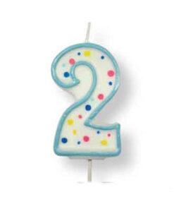 Geburtstagskerze Zahl 2, blau