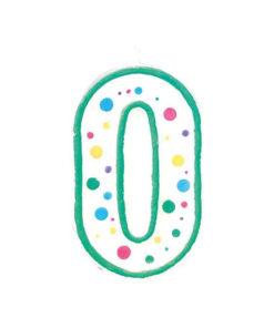 Kuchenkerze Zahl 0, grün