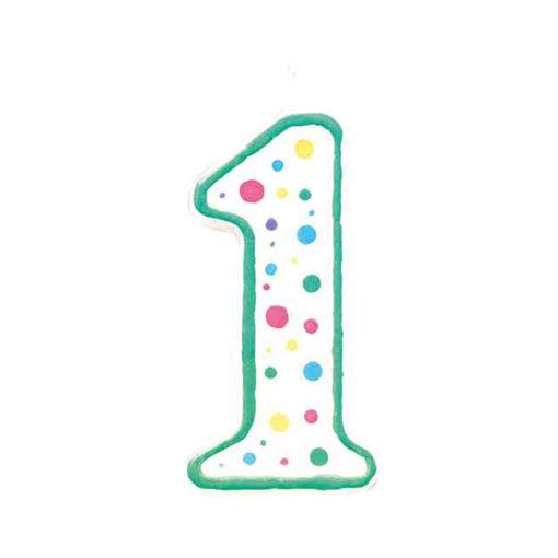 Geburtstagskerze Zahl 1, grün