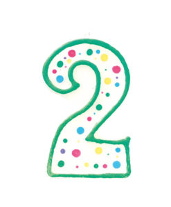 Geburtstagskerze Zahl 2, grün