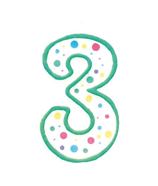Geburtstagskerze Zahl 3, grün