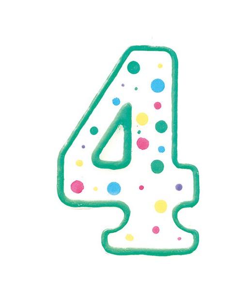 Geburtstagskerze Zahl 4, grün