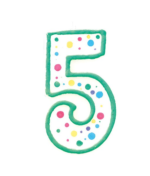 Geburtstagskerze Zahl 5, grün