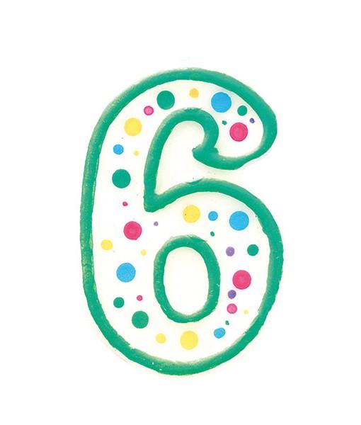 Geburtstagskerze Zahl 6, grün