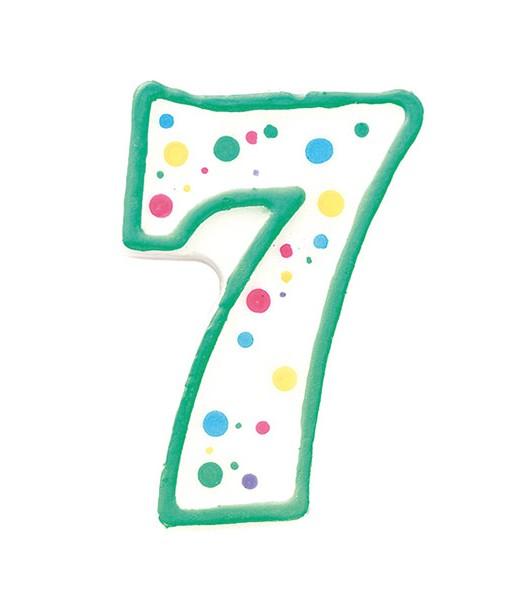 Geburtstagskerze Zahl 7, grün