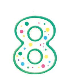 Geburtstagskerze Zahl 8, grün