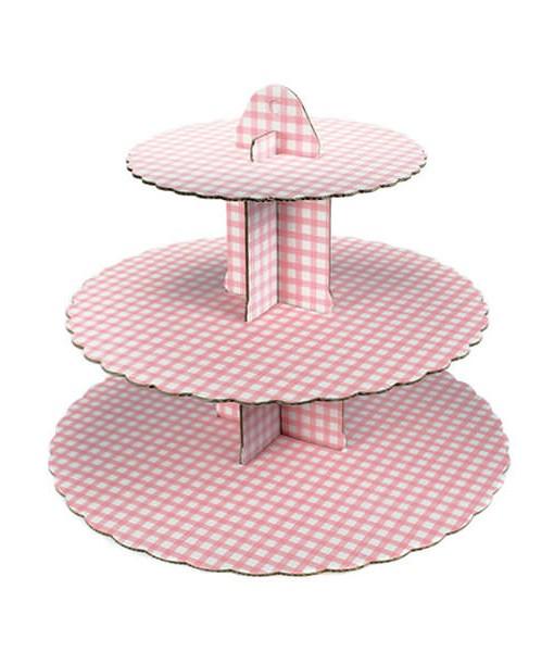 Cupcake Ständer - pink kariert