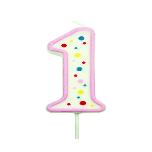 Geburtstagskerze Zahl 1, pink