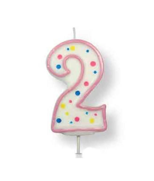 Geburtstagskerze Zahl 2, pink