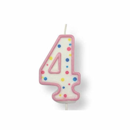 Kuchenkerze Zahl 4, pink