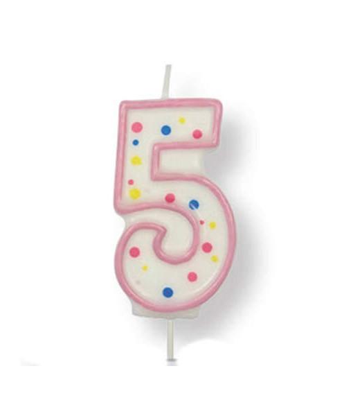 Kuchenkerze Zahl 5, pink