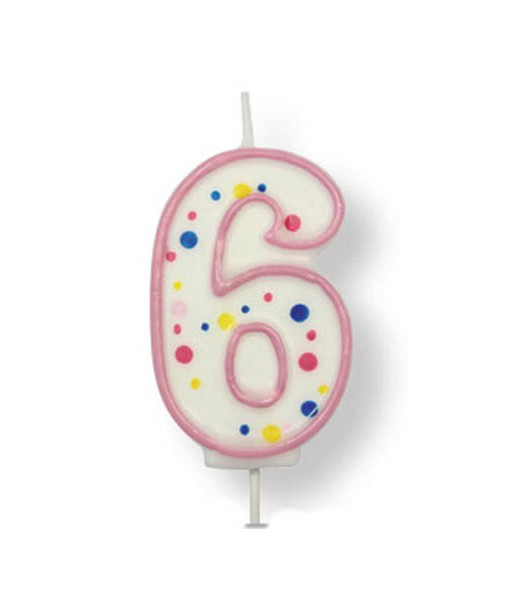 Kuchenkerze Zahl 6, pink