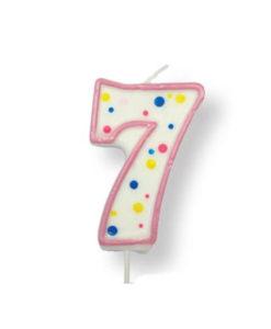 Kuchenkerze Zahl 7, pink