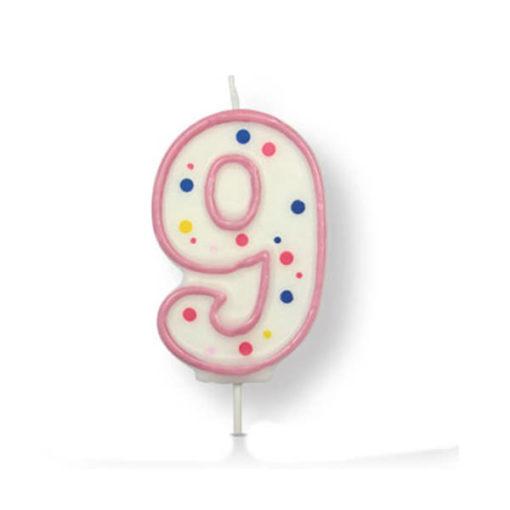 Kuchenkerze Zahl 9, pink