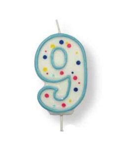 Geburtstagskerze Zahl 9, blau