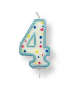 Geburtstagskerze Zahl 4, blau
