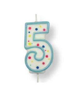 Geburtstagskerze Zahl 5, blau