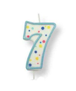 Geburtstagskerze Zahl 7, blau