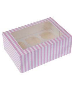 6er Cupcake Box - pink, gestreift
