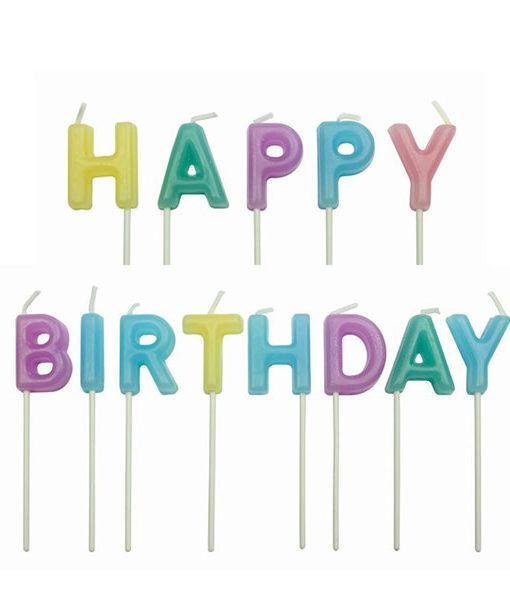 Kuchenkerze Happy Birthday, pastell