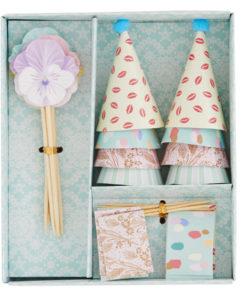 Rice Kuchen Dekorations Set Hüte, Flaggen und Blumen