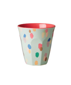 Rice Melamin Becher Medium Two Tone Dapper Dot/Dark Coral