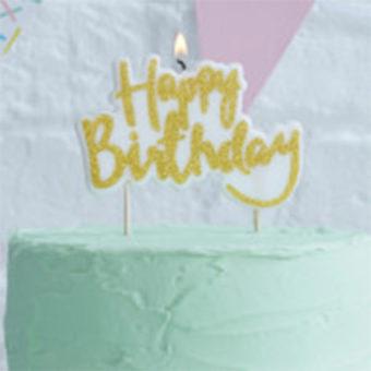 Party-Kerze Happy Birthday Gold