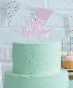 Party-Kerze Happy Birthday Pink