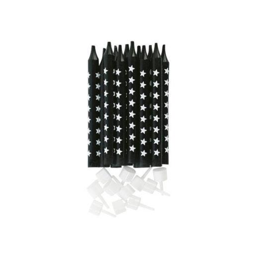 Miss Étoile Party-Kerzen Schwarz mit Sternen