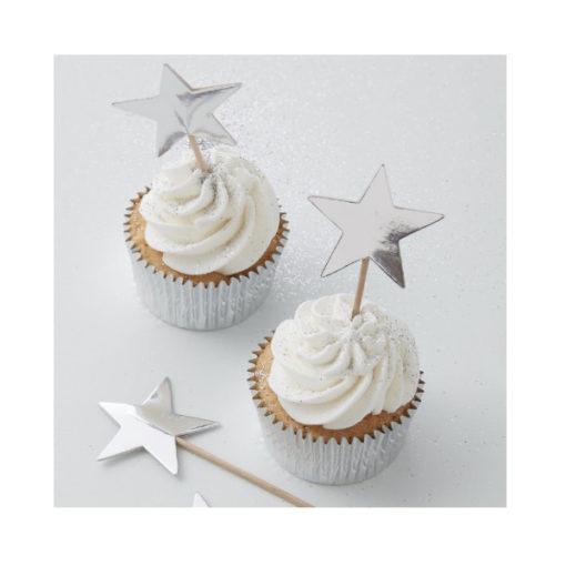 Cupcake Topper - Sterne Silber