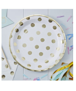 Pappteller Polka Dot gold