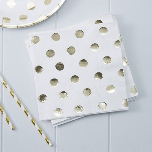 Servietten Polka Dot gold