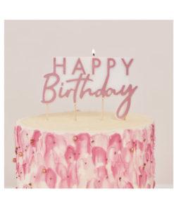 Party-Kerze Happy Birthday rosé gold