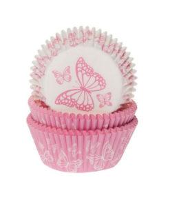Papierbackförmchen - Schmetterling pink