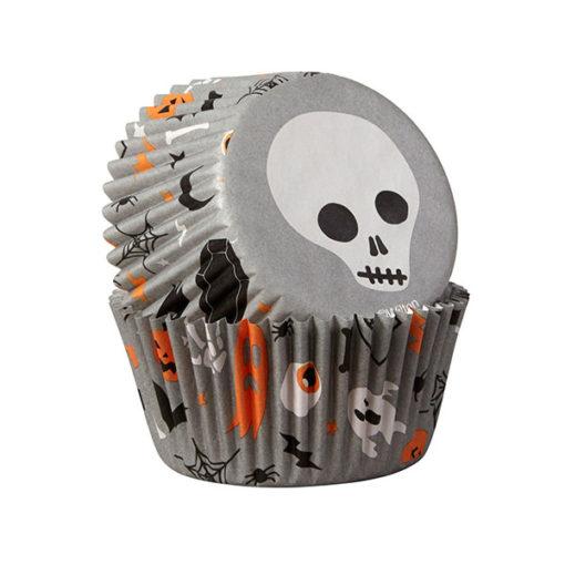 Papierbackförmchen - Halloween Totenkopf