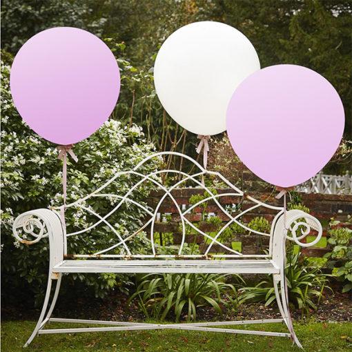 Riesen-Ballon Set weiss-rosa 90cm