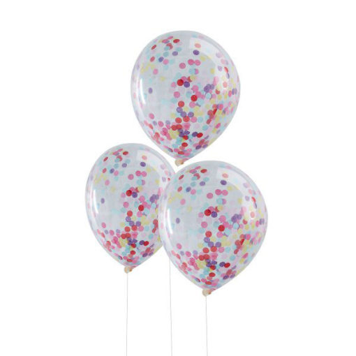 Ballon Set transparent mit buntem Konfetti