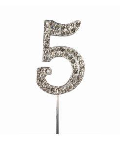 Cake Topper Diamant Zahl 5