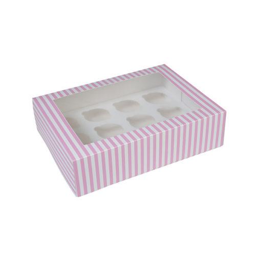 12er Cupcake Box - pink gestreift